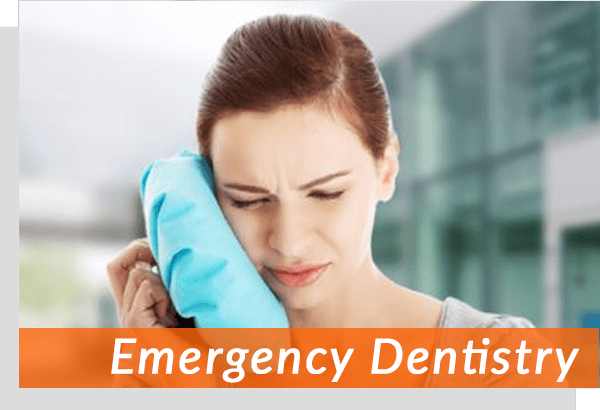 emergency dental patient holding her face