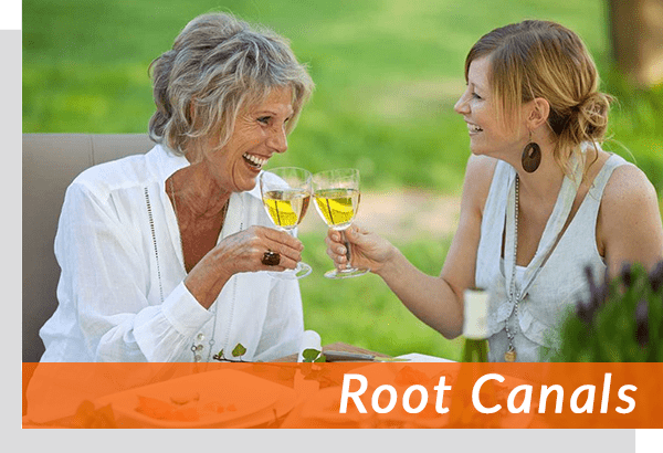root canal patients enjoying wine together